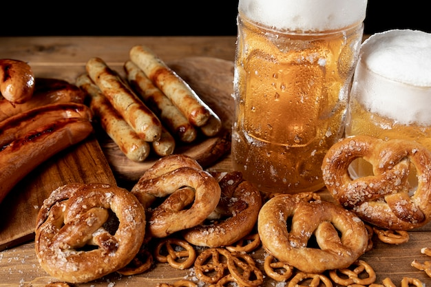 Traditional bavarian snacks and drinks