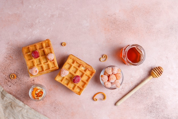 Traditional belgian waffles with honey and frozen berries.