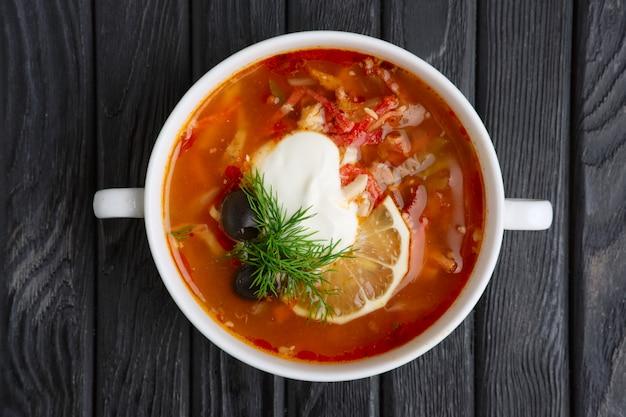 Traditional belorussian soup solyanka