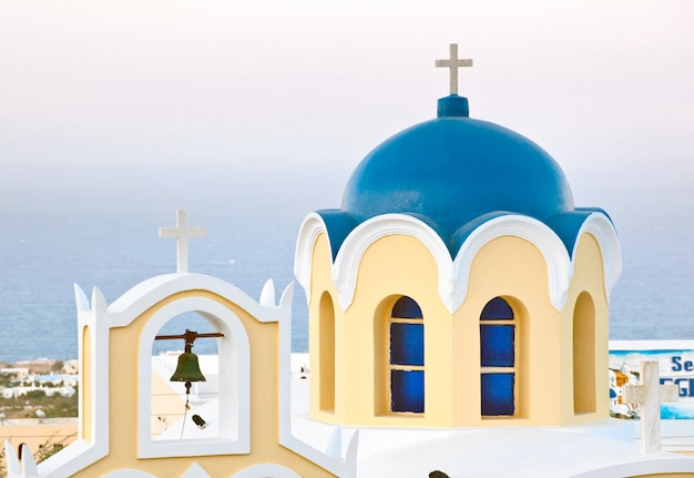 Traditional blue cupola in santorini