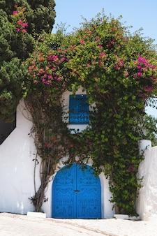 Традиционные синие двери и окна на белых домах на улицах сиди-бу-саид, тунис