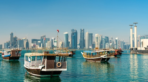 Traditional boats at the dhow harbor in doha, qatar
