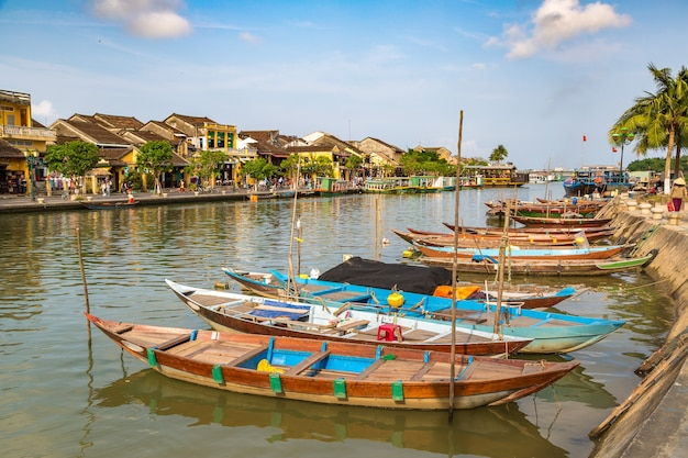 Traditional boats in hoi an in vietnam