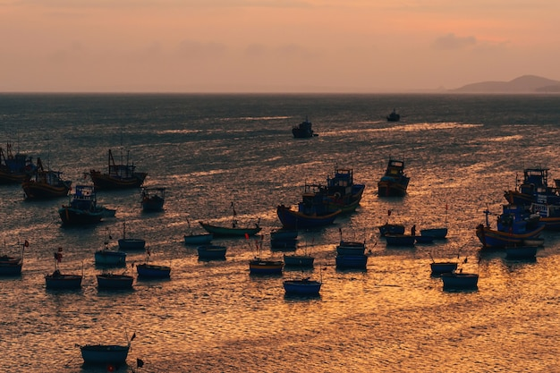 Traditional boats for sea fishing in vietnam in mui ne