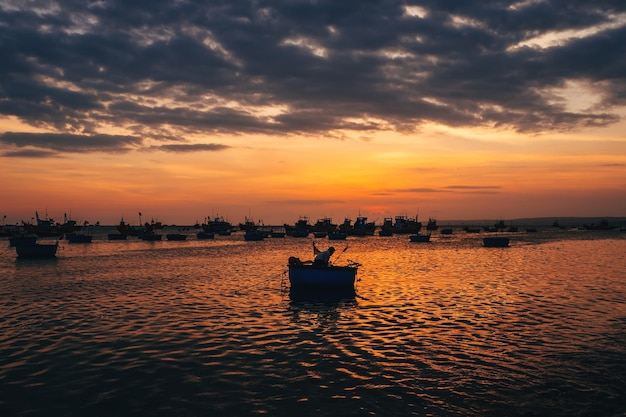 Traditional boats for sea fishing in vietnam