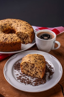 Traditional brazilian cake called bolo formigueiro vanilla cake with chocolate sprinkles