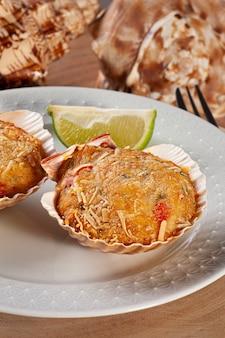 Traditional brazilian dish called casquinha de siri. crab meal gratin.