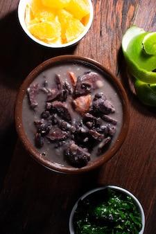 Traditional brazilian feijoada food. top view
