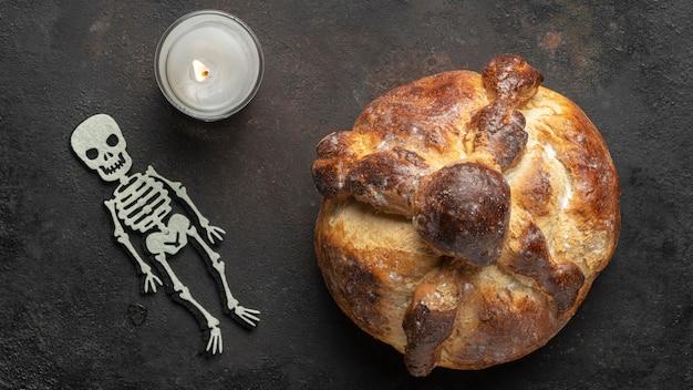 Traditional bread of dead arrangement