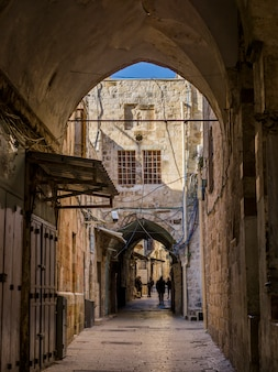 Traditional buildings along street in the old city, jerusalem, israel