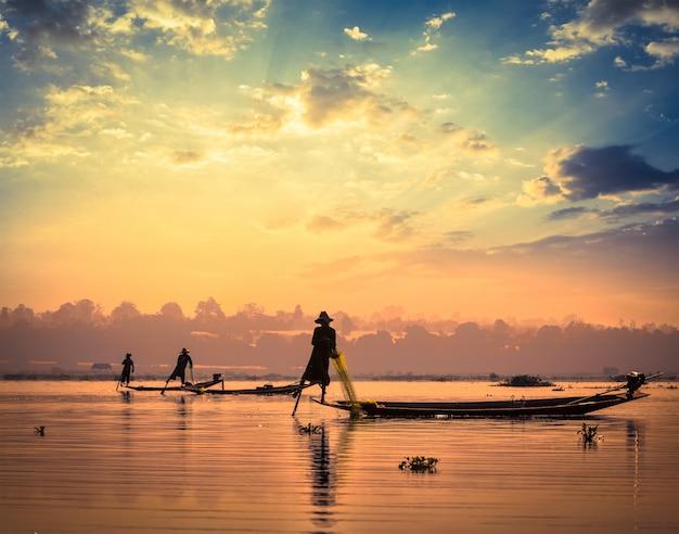 Traditional burmese fishermen at inle lake myanmar