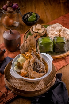 Traditional carp soup on the bowl