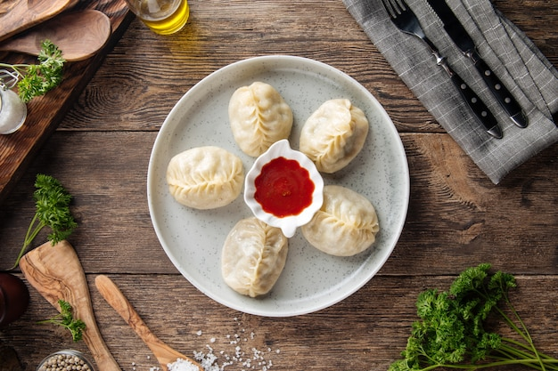 Traditional central asian dumplings manty