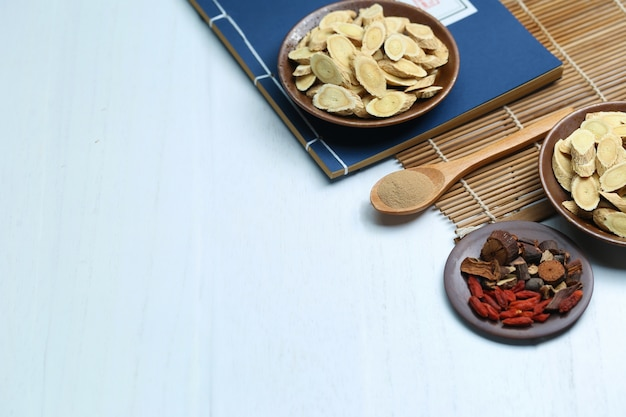 Traditional chinese medicine and ancient medical book on white desk