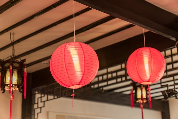 Traditional chinese style interior decoration. lanterns on the ceiling
