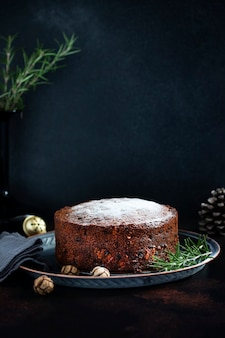 Traditional christmas cake with fruits and nuts