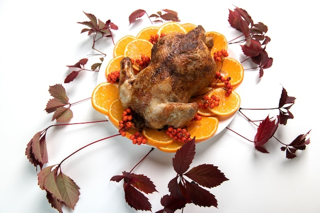 伝統的なクリスマスまたは感謝祭のローストターキー、白い背景にオレンジ色のフルーツスライスとナナカマドの果実を添えて
