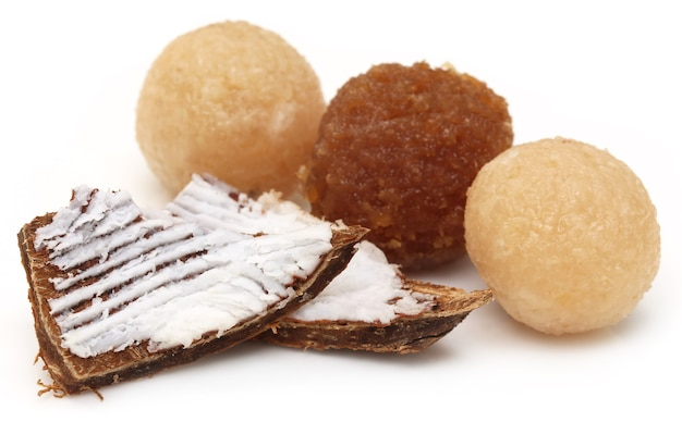 Traditional coconut laddu of southeast asia with broken fruits