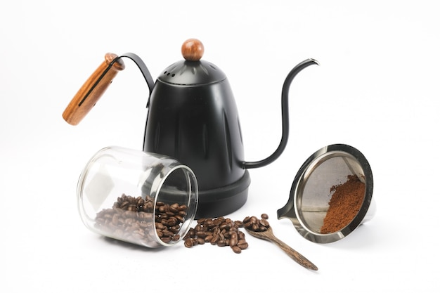 Traditional coffee equipment, coffee grinder, pot, coffee beans.