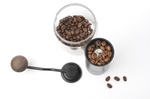 Traditional coffee grinder with coffee beans