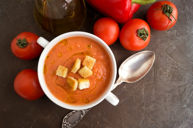 Traditional cold gazpacho soup. spanish, mediterranean cuisine.
