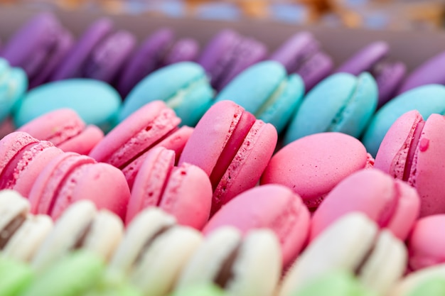 Traditional colorful macarons in a rows