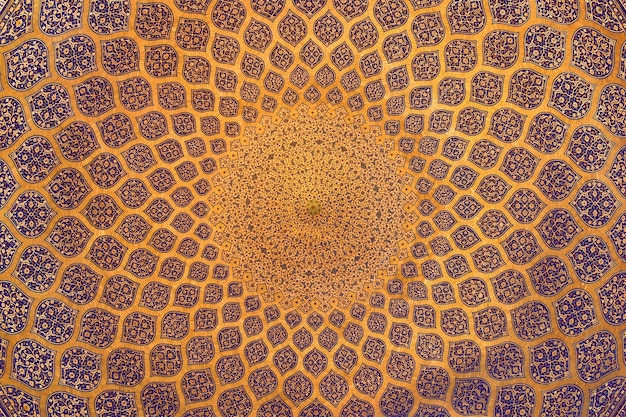 Traditional decoration of the ceiling in an ancient mosque