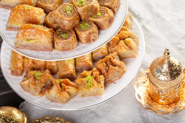 Traditional dessert baklava, well known in middle east and delicious