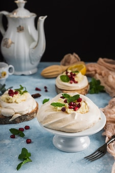 Traditional dessert with pomegranate