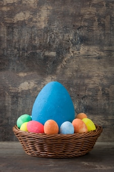 Traditional easter eggs in a basket