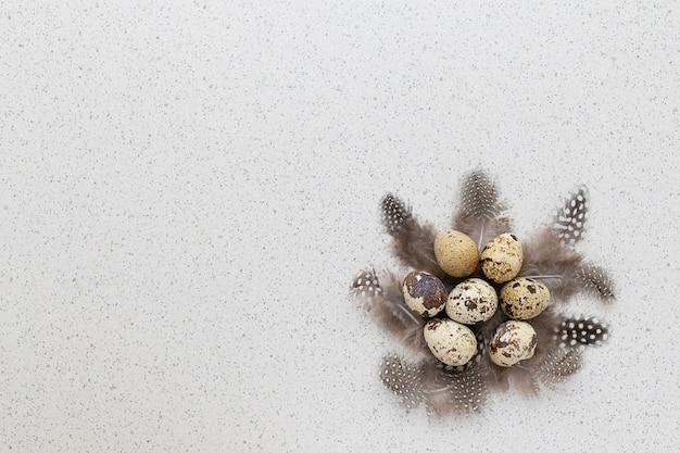 깃털의 둥지에 전통적인 부활절 휴가 회색, 갈색 메추라기 알