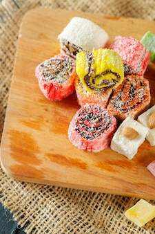 Traditional eastern desserts on wood
