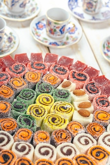 Traditional eastern desserts on wooden