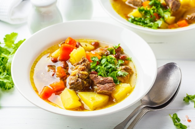 Traditional eintopf soup with meat, beans and vegetables in a white plate, white background.