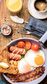Traditional english breakfast in the frying pan