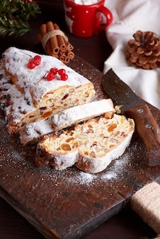 Traditional european stollen cake with nuts and candied fruit