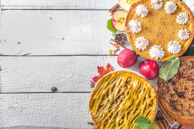 Traditional fall baking. american and europe traditional autumn winter cakes - with pumpkin, pecan and apple