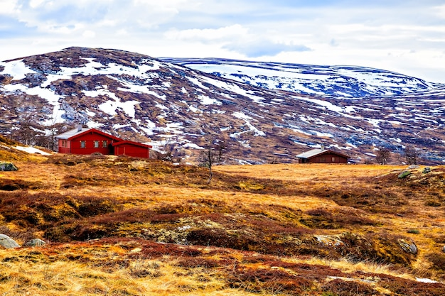 ノルウェー、山のふもとにある伝統的な農家