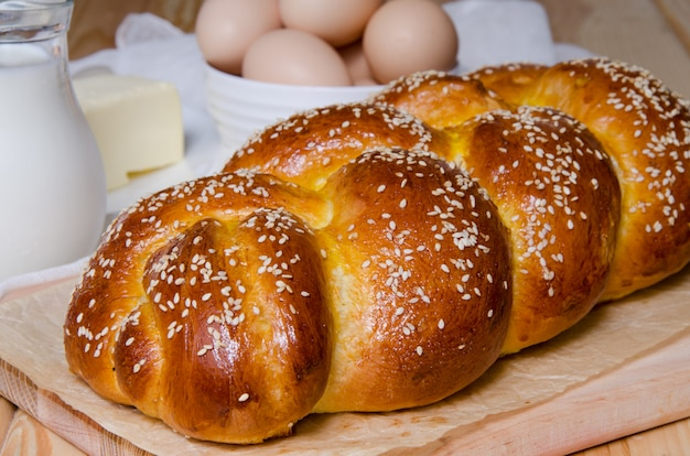 Traditional festive challah yeast bread
