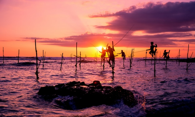 스리랑카의 전통적인 어부