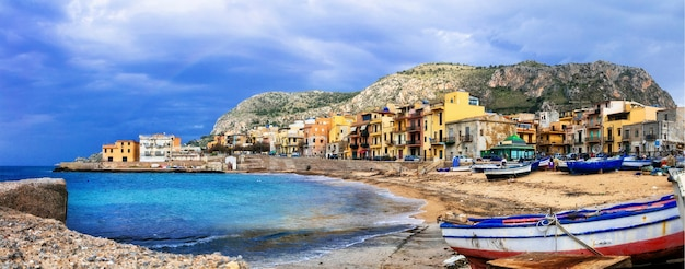 Traditional fishing village aspra in sicily island, italy