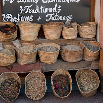 Traditional food for sale at market stall, medina, marrakesh, morocco