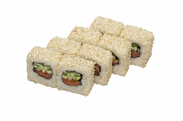 Traditional fresh japanese rolls ( maki, sushi) with sesame seeds on  white  background.