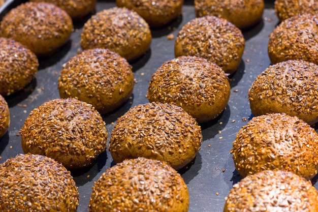Traditional freshly made buns made with sesame