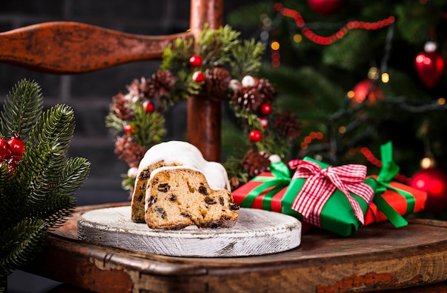 Traditional german christmas cake stollen