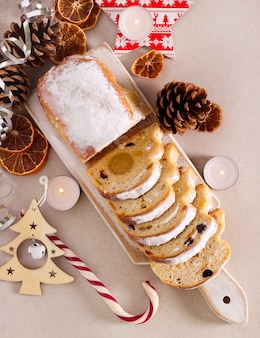 Traditional german christmas cake with marzipan - stollen