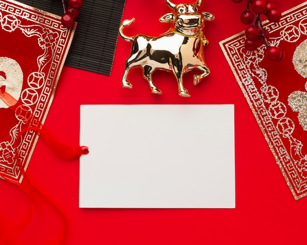 Traditional golden ox domestic animal copy space new year chinese 2021