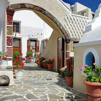Traditional greece - floral decorated streets