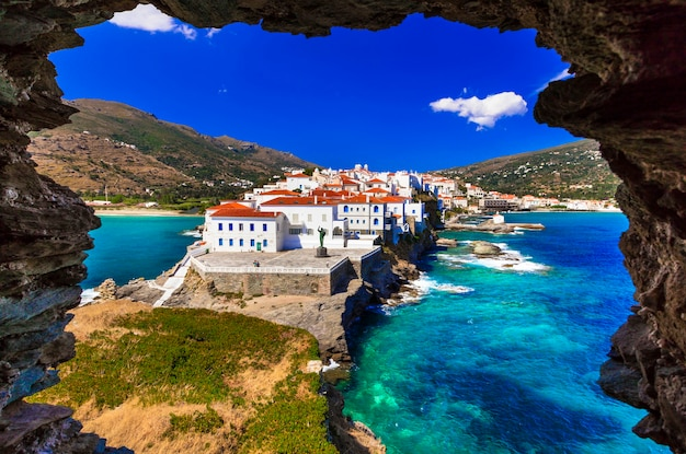 Traditional greece series - andros island, view of chora village from old fortress