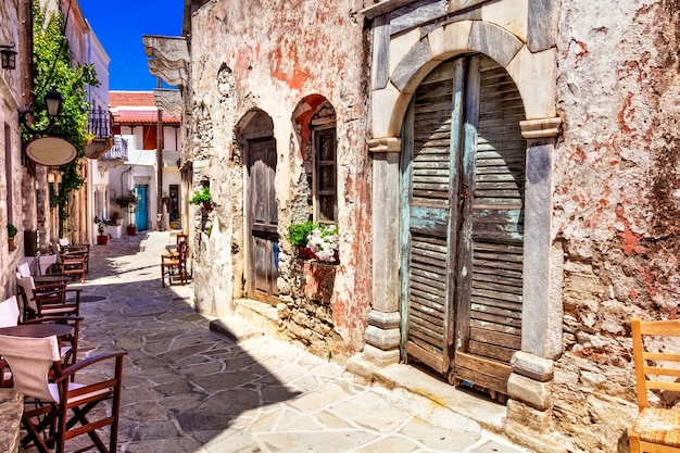 Traditional greece typical street cafe bars halki village naxos island cycades